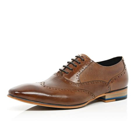 wingtip shoes river island textured panel wingtip shoes in brown for