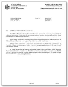 Maine Cover Letter by Maine Revenue Services Additional Information Letter