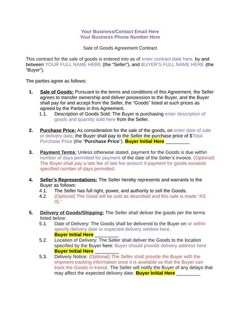 sale of goods agreement template sale of goods agreement template iranport pw