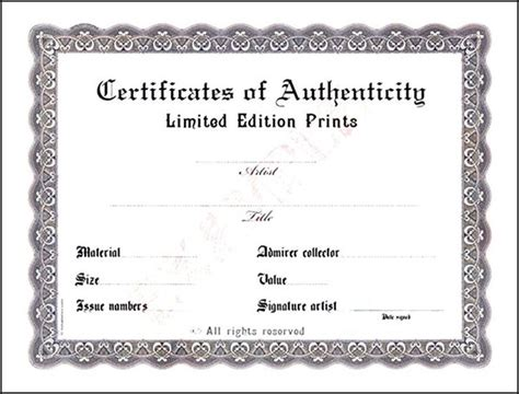 blank certificate of authenticity sle templates