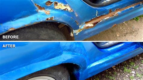 car repair diy rust holes filler sanding primer