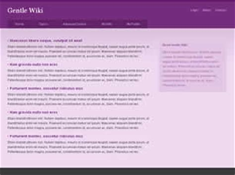 wiki templates gentle wiki free website template free css templates