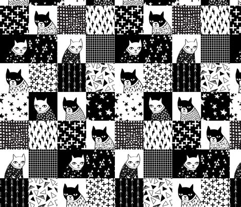 Black And White Patchwork Fabric - cat quilt black and white quilt squares quilt design