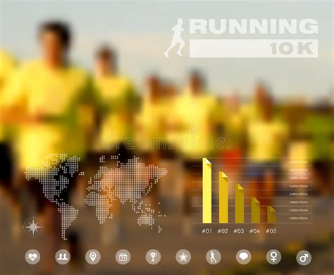design effect international running people blurred infographic stock vector image