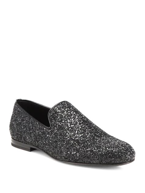 jimmy choo loafers womens jimmy choo sloane glitter slip on loafers in black lyst