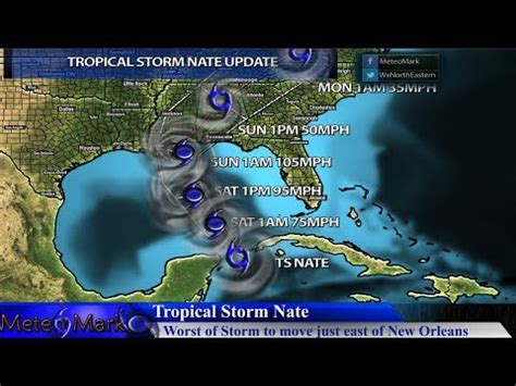 hurricane nate center to move just east of new orleans