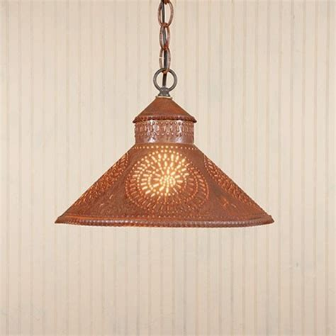 Rustic Kitchen Pendant Lights Rustic Tin Pendant Shade Light