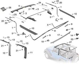 jeep wrangler jk soft top hardware parts 2 door quadratec