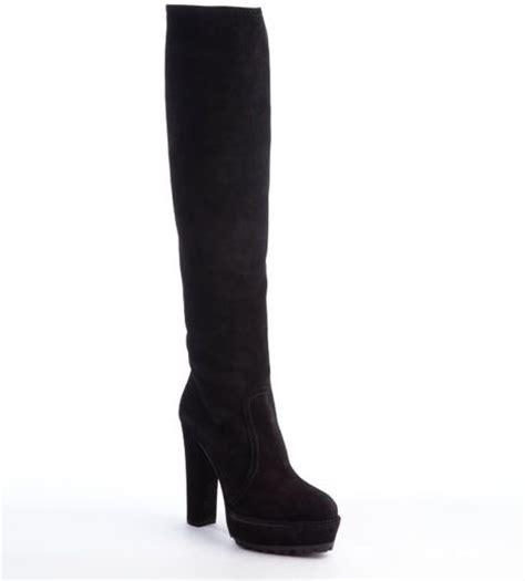 prada high heel boots prada black suede high heel platform boots in black lyst