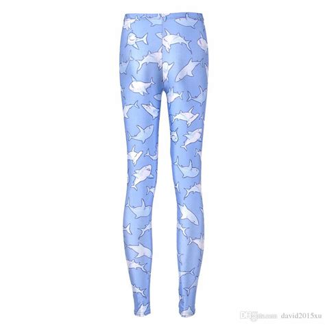 light blue leggings women 2017 women fashion shark galaxy leggings light blue diving