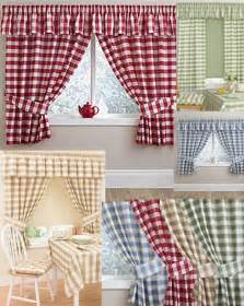 Checkered Kitchen Curtains Gingham Checked Kitchen Curtains Matching Pelmet Conservatory Utility Cheap P P Ebay