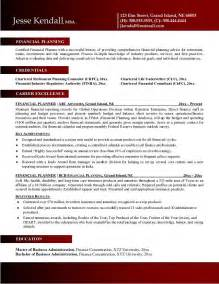 Planner Resume by Exle Financial Planner Resume Free Sle