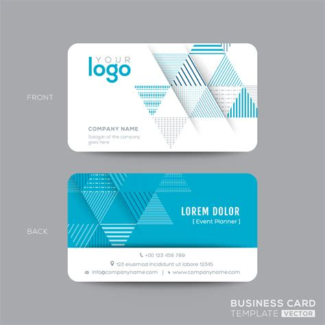 desain kartu nama biru contoh kartu nama depan belakang contoh three