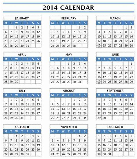 calendar template for 2014 2014 year calendar