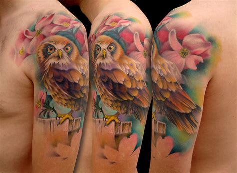 owl tattoo in color color owl tattoo picture