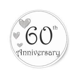 60th wedding anniversary color 60th anniversary stickers zazzle
