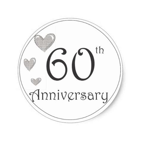 60th anniversary round stickers zazzle