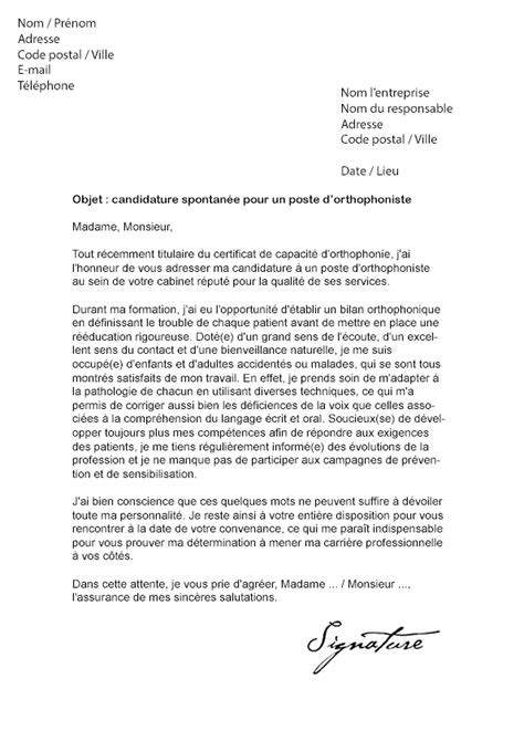 lettre de motivation orthophoniste mod 232 le de lettre