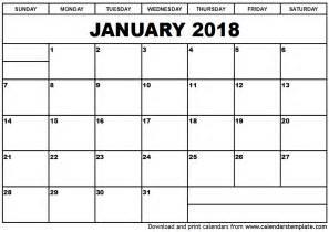 Calendar 2018 Printable January January 2018 Calendar Template