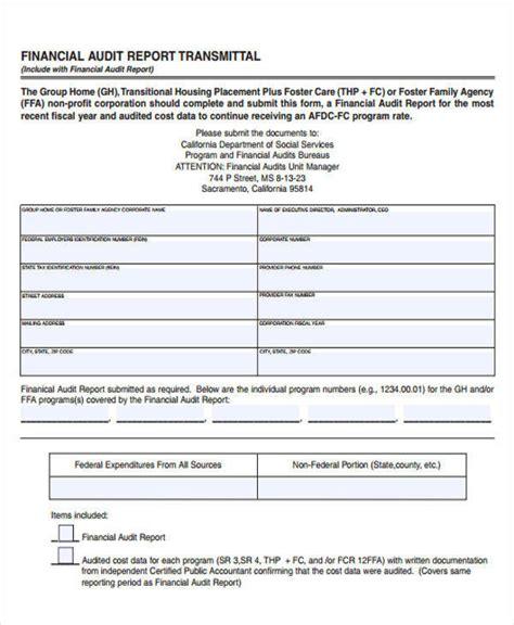 financial audit template sle audit report 8 exles in pdf word