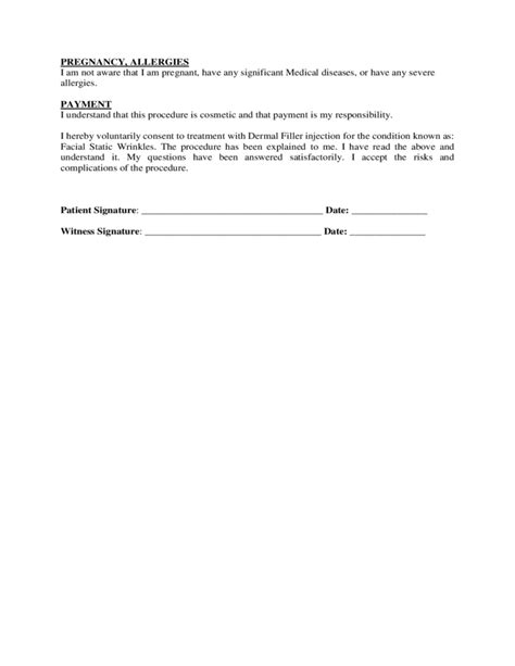 filler template informed consent form for dermal filler free