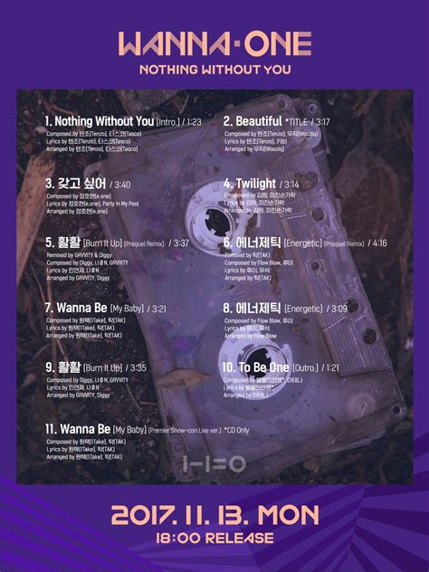 Wanna One Album Nothing Without You Wanna Versi update wanna one reveals teaser for performance version of quot beautiful quot mv soompi