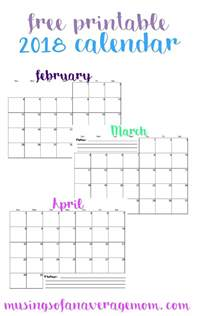 Free Printable 2018 Monthly Calendar Musings Of An Average 2018 Monthly Calendar