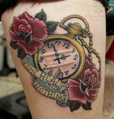 time clock tattoo designs time heale nothing clock