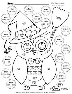 classroom freebies halloween owl math coloring sheet