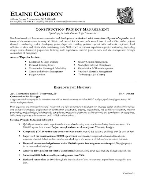 construction project manager resume sle doc technical project manager resume sle pdf format business document inside management sles