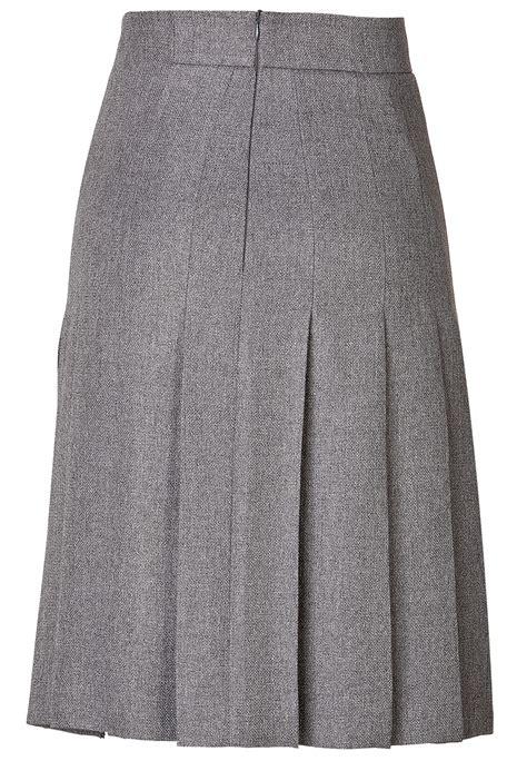 gray wool blend pleated skirt elizabeth s custom skirts