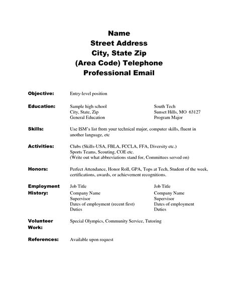 simple high school resume doc 8541 resume sles for high school students 56