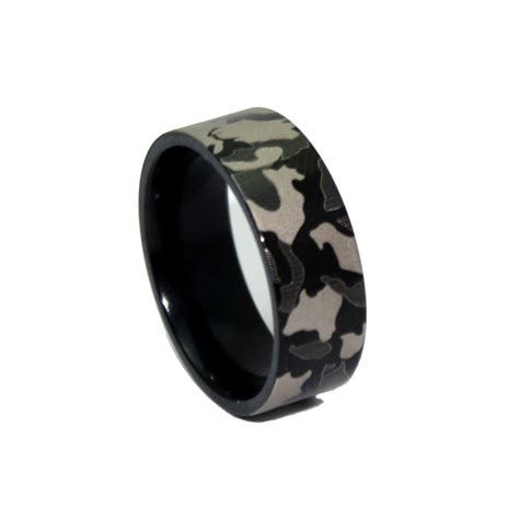 1 camo black ring laser engraved camouflage wedding band