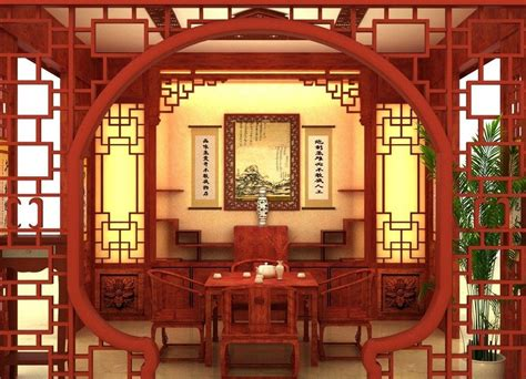 chinese style arch  dining room   house