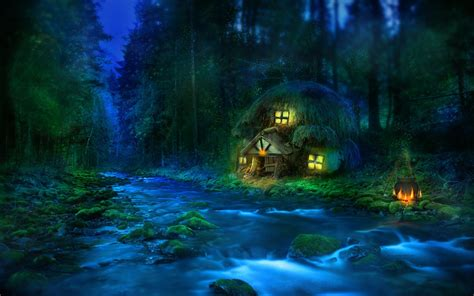 wallpaper blue fantasy fantasy house wallpaper