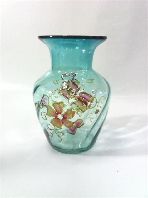 Painted Vases by The Vase 7 Transparent Blue Blown Glass Vase W