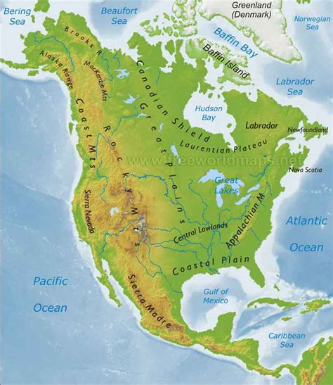 physical map of america worldgeographygold united states and canada