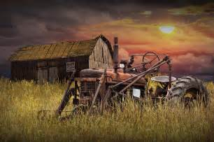 farmall tractor with barn for photograph by