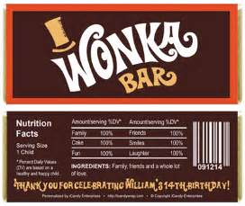 willy wonka bar wrapper template willy wonka inspired birthday bar wrappers