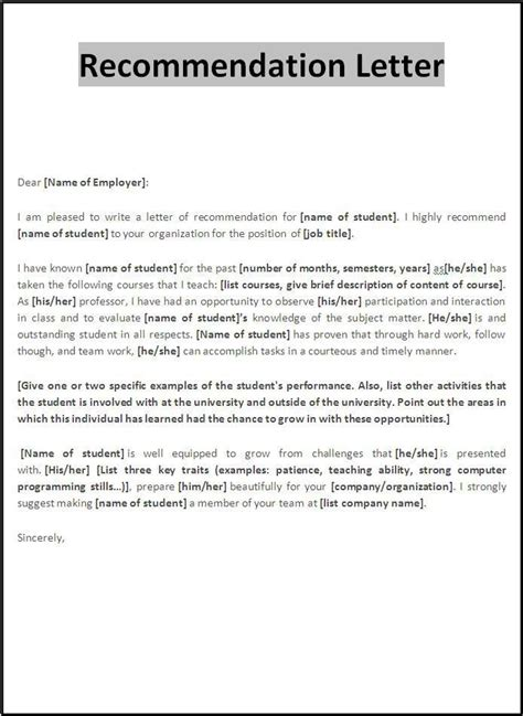 ic layout contract work recommendation letter template templates pinterest