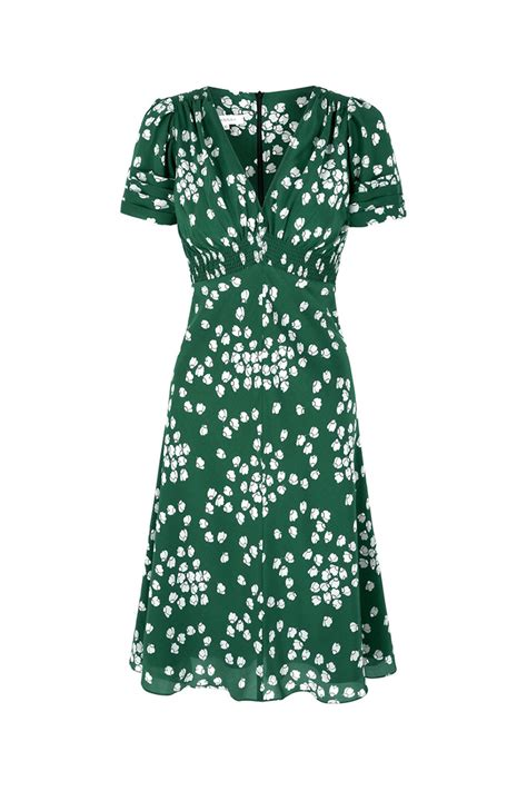 Green Silk Tea Dress  30s Vintage Print Tea Dress   Heart
