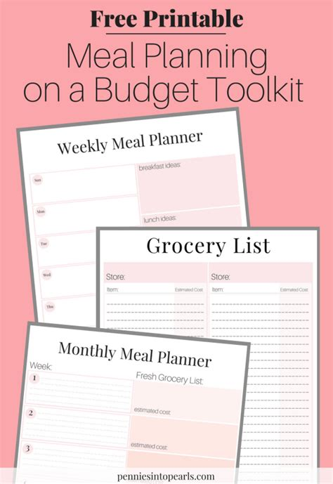 free printable meal planning guide free printable meal planning on a budget toolkit