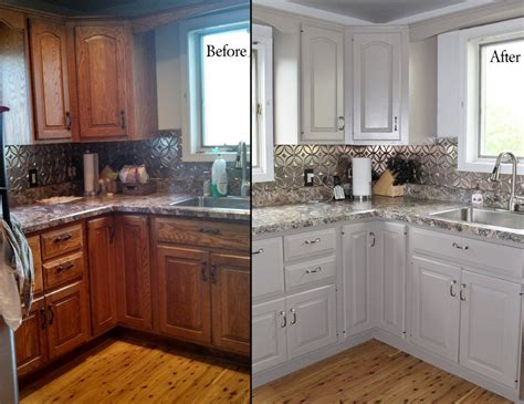 Painting Oak Kitchen Cabinets Before And After With White Painting Wood Cabinets White