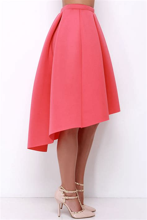 coral midi skirt high low skirt high waisted skirt