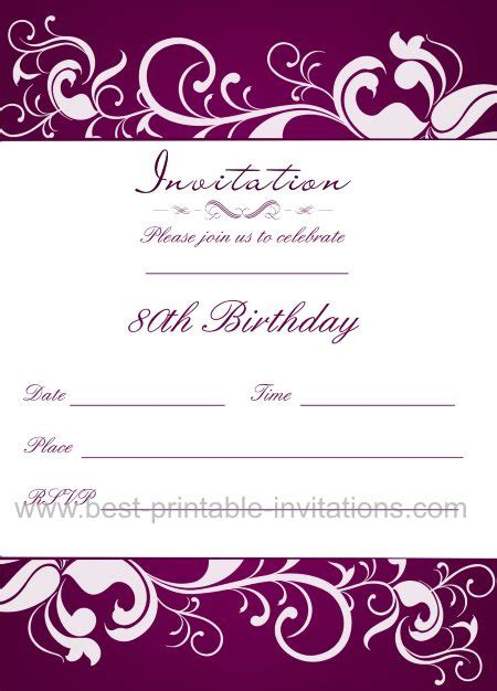free 80th birthday invitation templates 80th birthday invitation templates wblqual