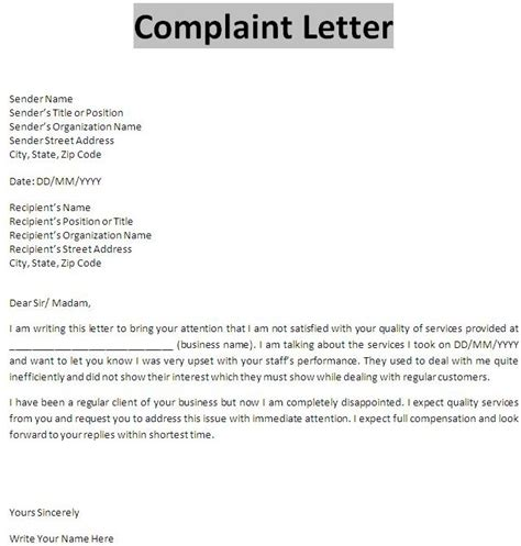 Letter Of Complaint Removal Company business complaint letter letters free sle letters