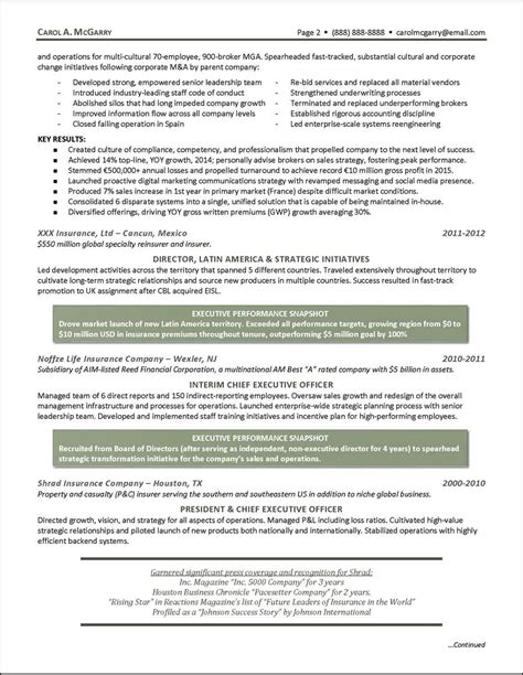 Insurance Executive Sle Resume by Insurance Industry Executive Resume Page 2