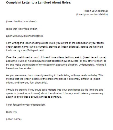 Complaint Letter Noise In Apartment Landlord Complaint Letter Free Printable Documents