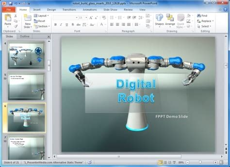 themes for multimedia presentation animated robot powerpoint template for manufacturing