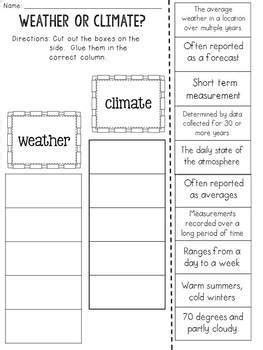 Weather Vs Climate Worksheet by Weather And Climate Cut And Paste Sorting Activity By Jh